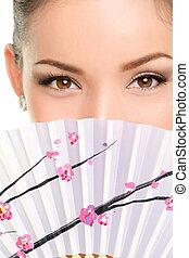 ojos, mirada, maquillaje, ventilador papel, asiático