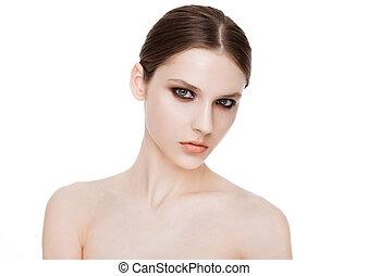 ojos, moda, belleza, smokey, maquillaje, modelo