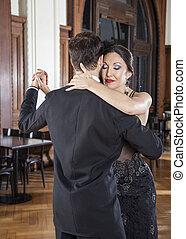 ojos, mujer, amaestrado, tango, mientras, cierre, hombre