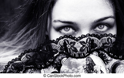 ojos, mujer, atrás, ventilador, seductor, sensual