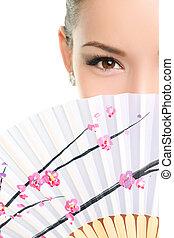 ojos, mujer, chino, ventilador papel, asiático, seductor