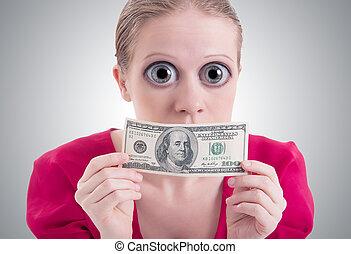 ojos, mujer, dinero, concept., dólar, boca cerrada, grande