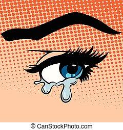 ojos, mujer, lágrimas, llanto