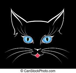 ojos, oscuridad, imagen, gato