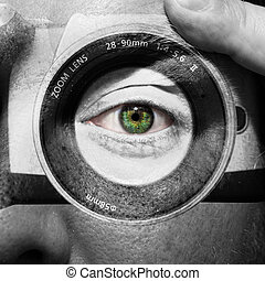 ojos, pintado, cara, cámara, verde, macho