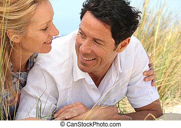 ojos, sand., pareja, mirar, cada, otro