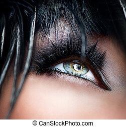ojos, smokey, eyeshadow, negro, maquillaje, close-up.