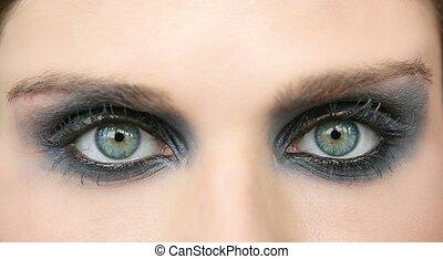ojos verdes, mujer, negro, maquillaje, sombra ojo