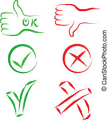 ok and cancel signs - yes ok no cancel sign set vector...