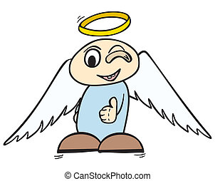 OK angel - Little angel with halo over head showing ok sign