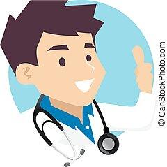 ok, arts, meldingsbord, hand, mannelijke , pictogram