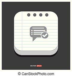ok, bavarder, bulle discours, gris, icône, sur, bloc-notes, style, gabarit, vecteur, eps, 10, gratuite, icône