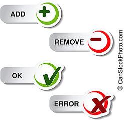 ok, bouton, -, enlever, article, ajouter, vecteur, erreur