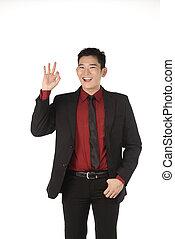 ok, business, donner, main, asiatique, geste, homme