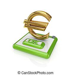 Ok button and euro sign.