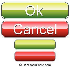 Ok, cancel buttons with blank versions. Vector.