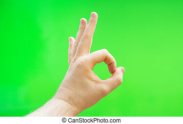 ok, chroma, gesture., mano, advertisement., posto, key., maschio, tuo, mostra