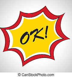 ok comic icon over dotted background vector illustration