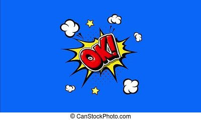 OK! comic pop art explosion. 4k cartoon animation with Red ok! speech bubble message on Blue and black background