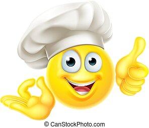 ok, cuisinier, emoji, dessin animé, haut, chef cuistot, pouces