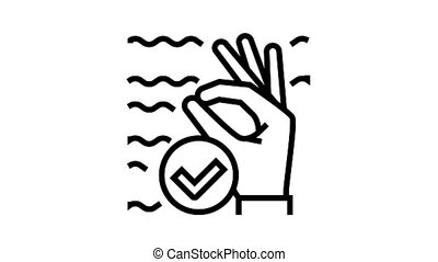 ok diver gesture animated black icon. ok diver gesture sign. isolated on white background
