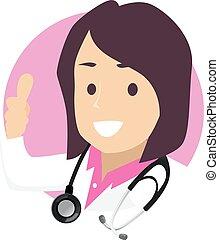ok, docteur, main, femme, signe, icône