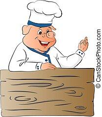 ok, donner, gesture., cochon, chef cuistot, vecteur