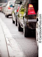 ok, eső, forgalom, autóút, dzsem, elárasztott