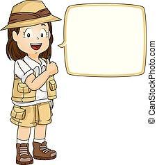 ok, explorateur, illustration, parole, girl, bulle, gosse
