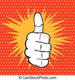 OK finger pop art vector illustration