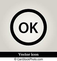 OK flat icon on grey background