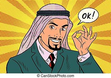 OK gesture Arab businessman