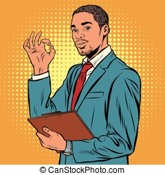 OK gesture black businessman pop art retro vector....