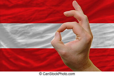 ok gesture in front of austria national flag