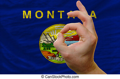 ok gesture in front of montana us state flag