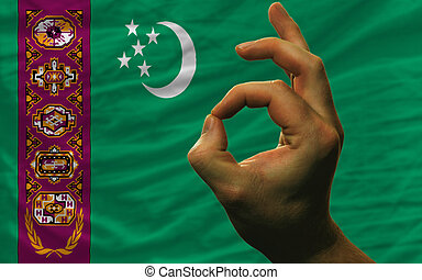 ok gesture in front of turkmenistan national flag