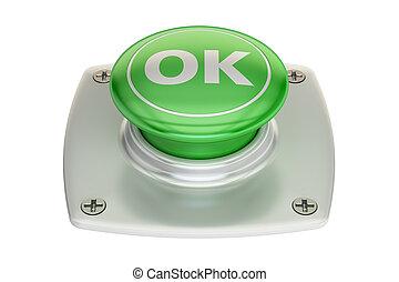 Ok green button, 3D rendering