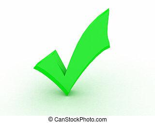 ok green - three dimensional check mark