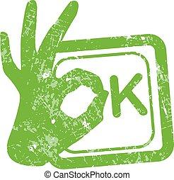 Ok green grunge rubber stamp