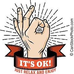Ok hand gesture retro logo
