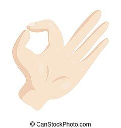 OK hand sign icon, cartoon style