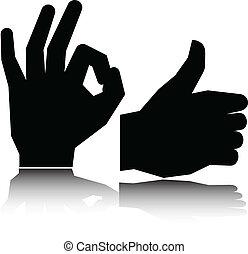 ok hand vector silhouettes