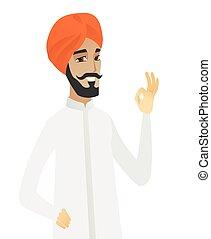 ok, hindu, ausstellung, geschäftsmann, lächeln, zeichen.