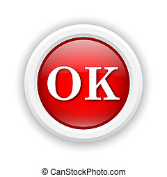 OK icon - Round plastic icon with white design on red...