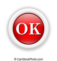 OK icon - Round plastic icon with white design on red ...