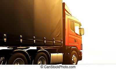 ok, isolerat, lastbil, bakgrund, solnedgång, vit röd