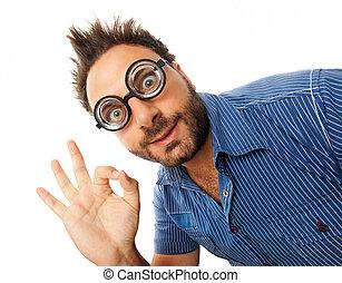 ok, jeune, épais, lunettes, expression, homme