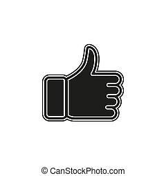 ok, kciuk, -, do góry, symbol, aprobata, znak, zatwierdzony