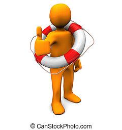Orange cartoon character as lifesaver with lifebelt and symbol of OK.