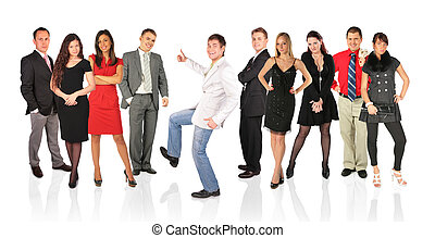 ok, ludzie, collage, młody, inny, człowiek, gest, szczęśliwy